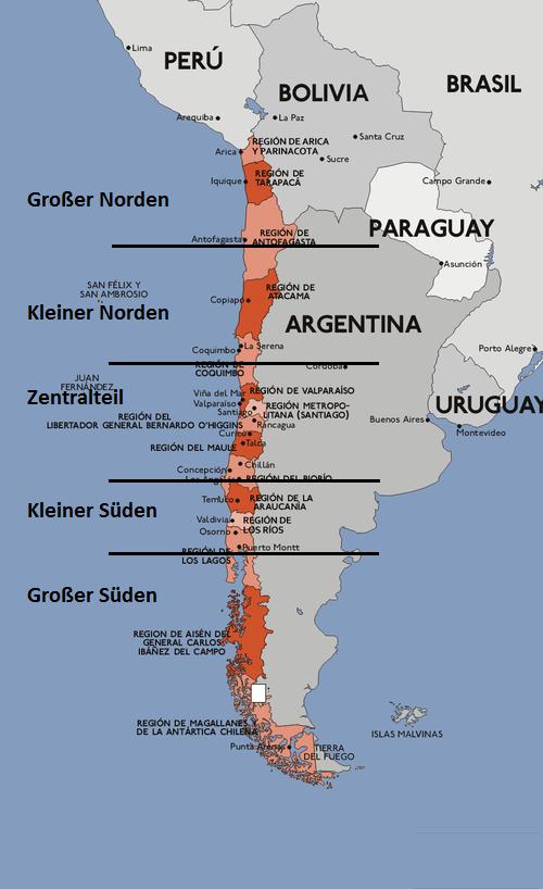 Zur Veranschaulichung: die verschiedenen Regionen von Chile. Das Bild wurde bearbeitet nach Wikipedia.