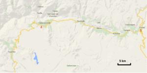 Der Colca-Canyon befindet sich ungefähr 100 km nördlich von Arequipa bei Chivay (1). Die meisten Treks beginnen bei Cabanaconde (2).