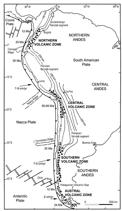 "Die Vulkane Misti, Ampato und Chachani zählen zur ""Cordillera Volcánica"" von Südperu und diese wiederum ist Teil der Zentralen Vulkanzone (Central Volcanic Zone). (Bildquelle: Stern, C., 2004. Active Andean Volcanism: its geologic and tectonic setting. Revista Geológica de Chile, Vol.31, No.2, 161-206 (46 Seiten))"