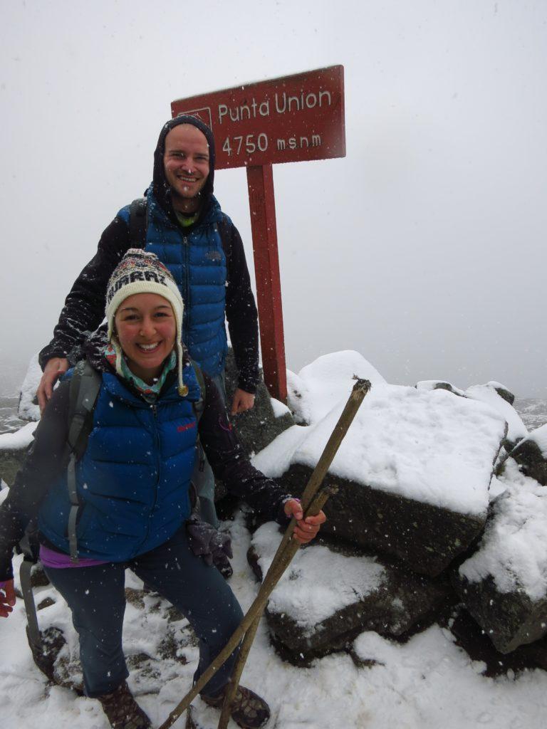 Der fast 5.000 m hoch gelegene Puna-Union-Pass ist der Höhepunkt des Santa-Cruz Treks