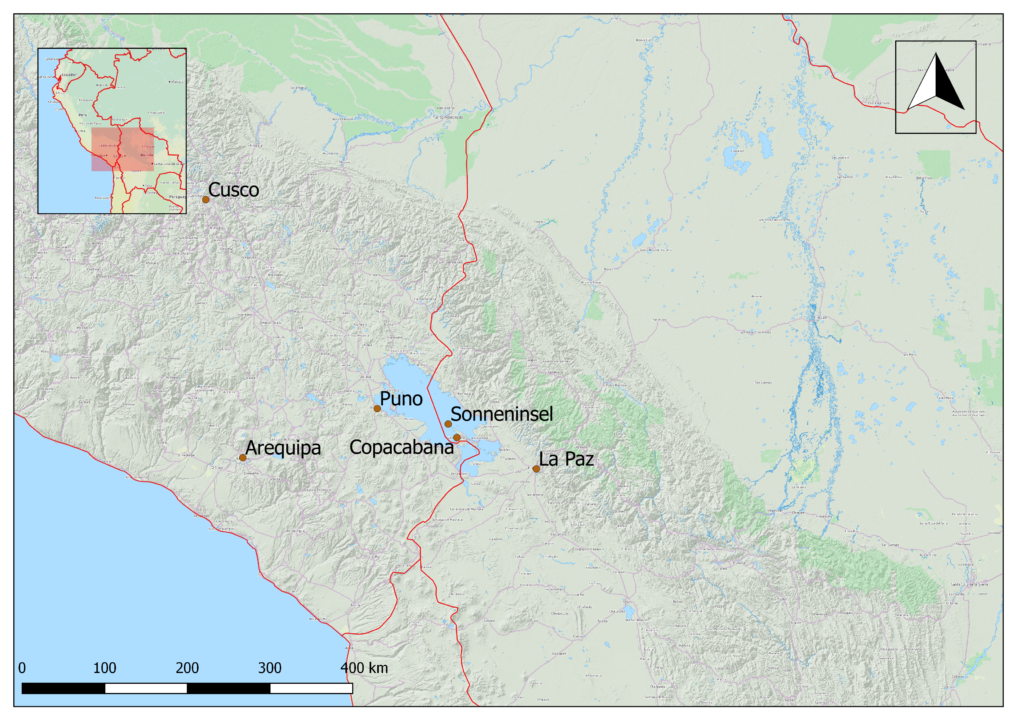 Die Sonneninsel (Isla del Sol) liegt auf dem Titicacasee, nur einen Kilometer vom Festland der Copacabana-Halbinsel entfernt. Ich bin mit dem Bus von Cusco aus über Puno nach Copacabana gefahren. Die Grenze zwischen Bolivien und Peru verläuft durch den Titicacasee. Diese Karte wurde mit QGis erstellt.